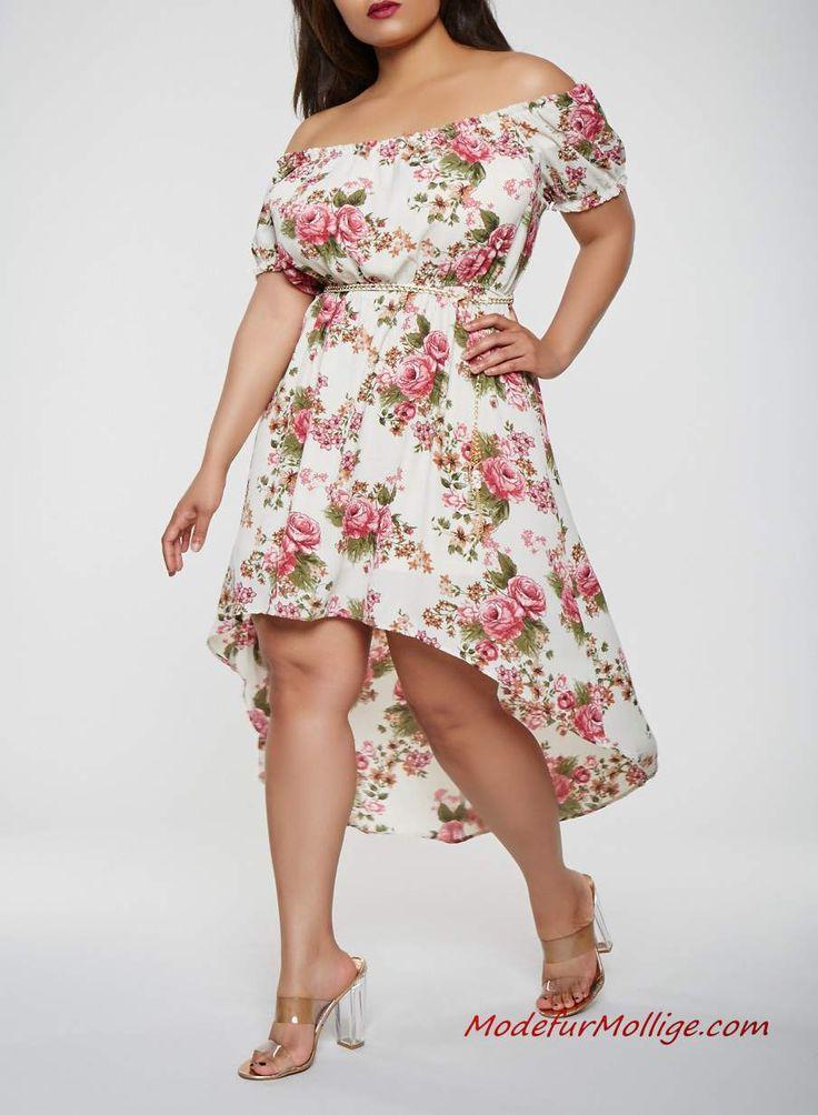 Große größe vokohila weißes Blumenkleid #mode …