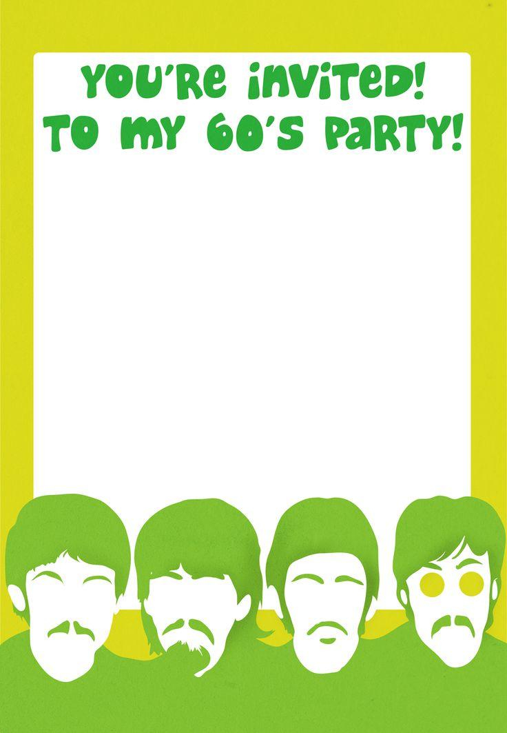 Free Printable 60s Party Invitation 60s Pinterest