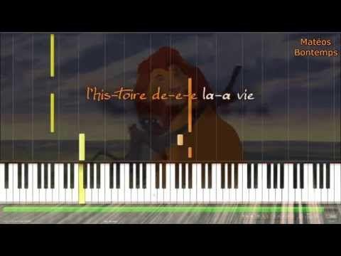 ☆ Le roi Lion ~ L'histoire de la vie ☆ (piano tuto karaoke) - YouTube