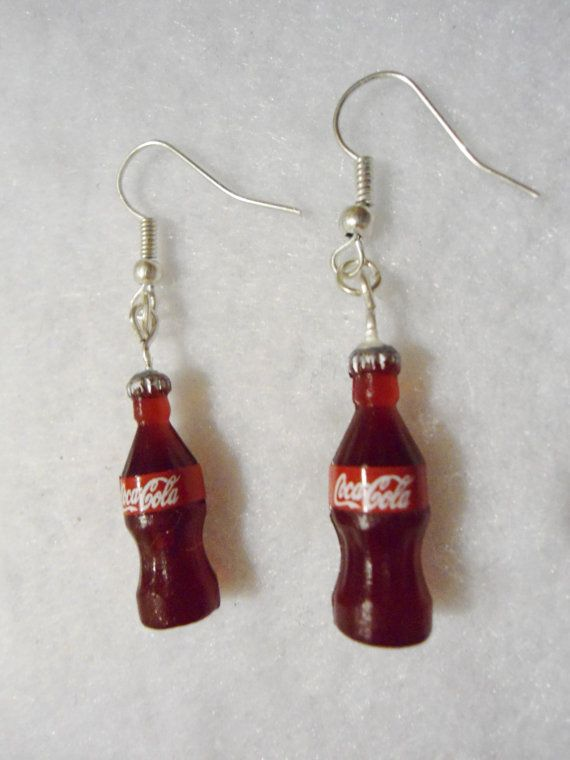 Cool cute Coca Cola Earrings by Margyko on Etsy, $8.00 miniatures drinks soda great for summer.