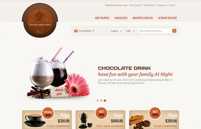 """""""Chocolate"""" #Magento Theme - designed for #chocolate, coffee, drink & cakes #store.  clean & professional look."""
