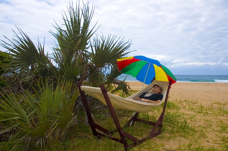 www.dreamtimehammocks.co.za - Wooden Dreamtime Hammock Stand is perfect for the beach as it is stable on all surfaces.