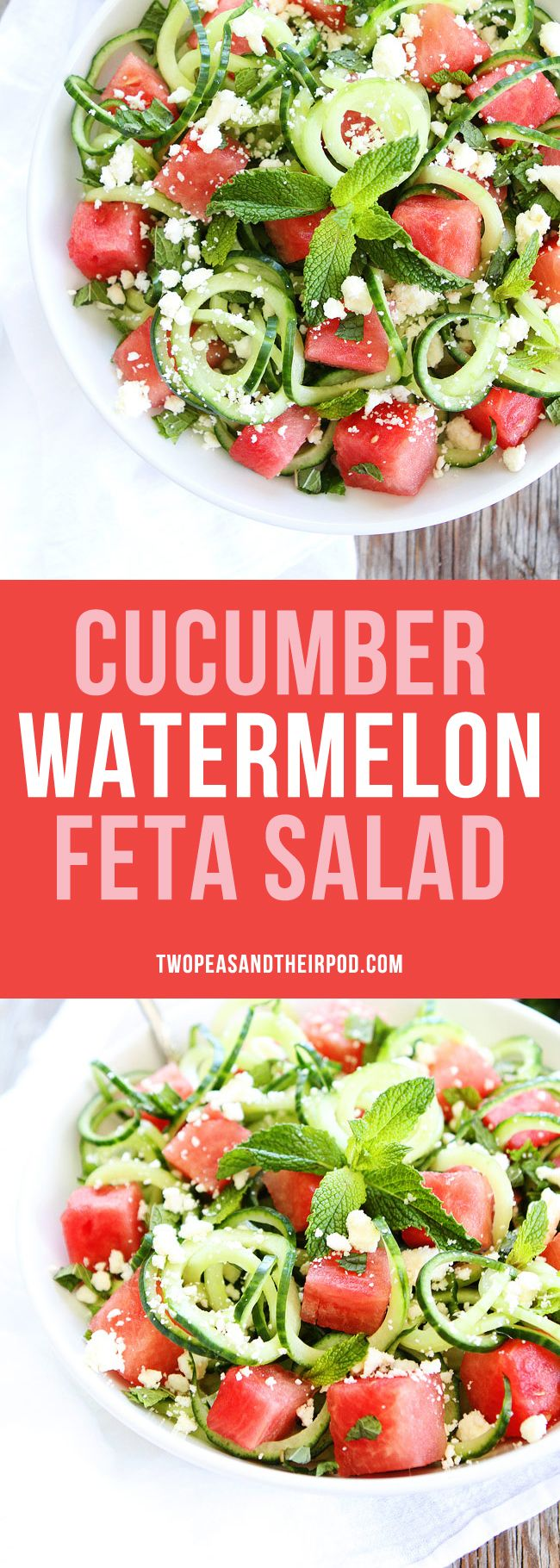 Cucumber Watermelon Feta Salad made with cucumber noodles. This fun and refreshing summer salad is perfect for potlucks, picnics, and barbecues.