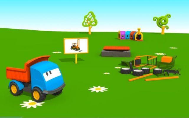 Cartoni animati per bambini in età prescolare: Leo e il muletto Guardate! Leo sta arrivando nel parco giochi! Porta tanti pezzi colorati con cui costruire un nuovo veicolo. Bambini siete pronti per una nuova avventura? Oggi Leo il Camion Curioso ci farà vedere co #cartonianimati #bambini #muletto #happy