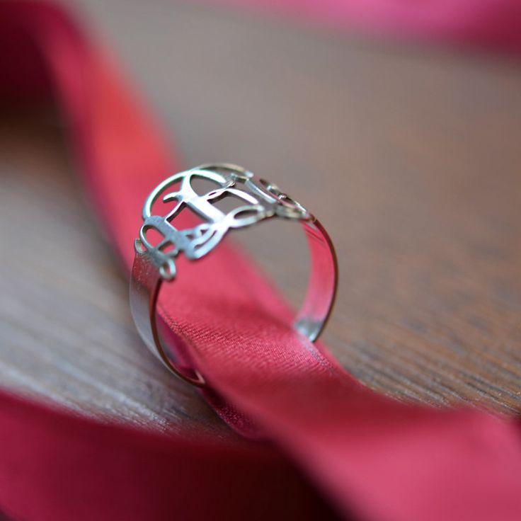 Sterling Silver Monogram Ring. $48.36, via Etsy.
