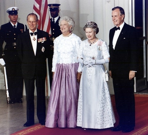 Prince Philip, First Lady Barbara Bush, Queen Elizabeth II and President George H. W. Bush seen at the White House in May 1991 for a state dinner.