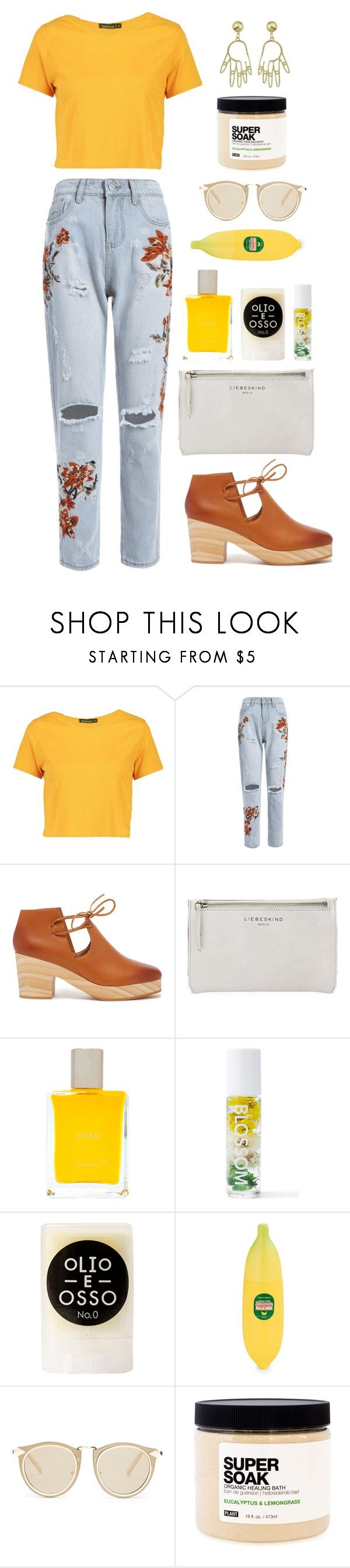 """""""Untitled #192"""" by peachgirl-style ❤ liked on Polyvore featuring Boohoo, Kelsi Dagger Brooklyn, Liebeskind, Yosh, Blossom, Olio E Osso, Tony Moly, Karen Walker, Plant Apothecary and BackToSchool"""