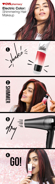 Electric Color Shimmering Hair Makeup. Rock unicorn locks