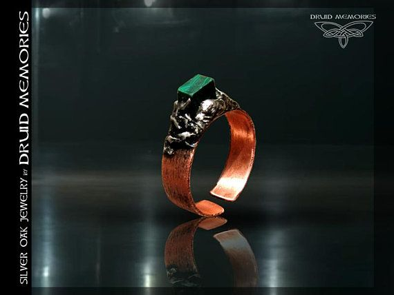 """Malachite copper ring """"Oicros"""", druid ring, mens ring, womens ring, copper power ring, one size ring."""
