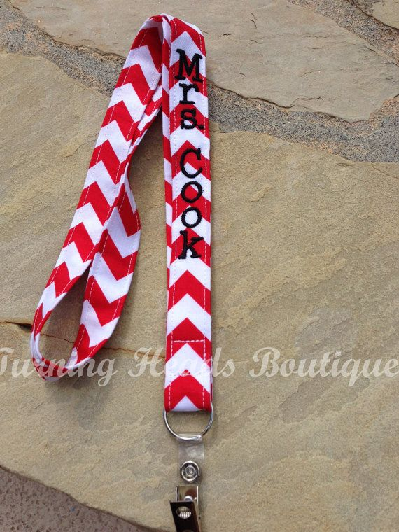 Chevron Lanyard ID Badge Holder / Personalized / Monogrammed / Teacher Appreciation Gift on Etsy, $10.00