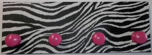 Zebra Stripe Print Black White Hot Pink Coat Rack Hanger Girls Bed Wall Decor