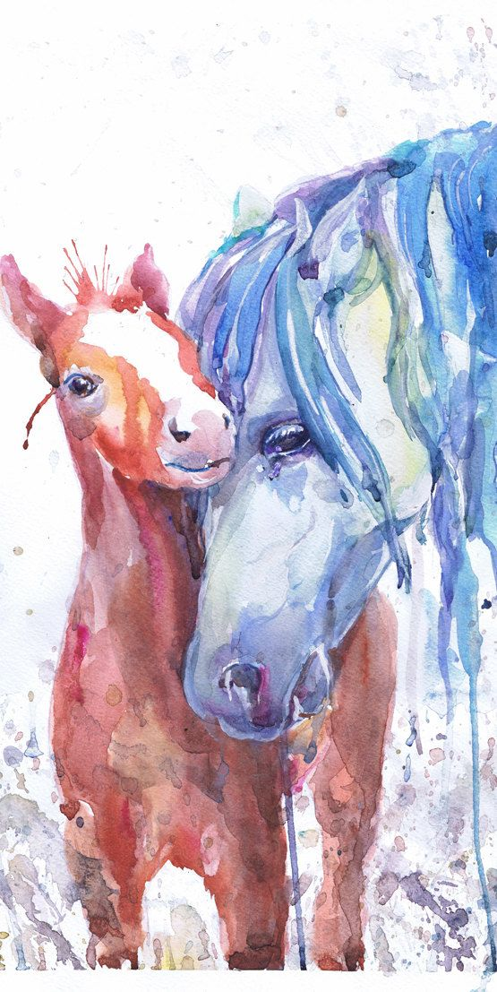 Original art Horse with foal watercolor painting colt by ValrArt