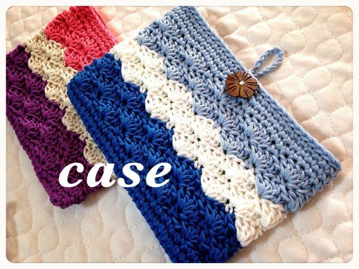通帳ケースなどに♪3色で作るボタンループ付き収納ポーチの編み方♪Crochet☆鉤針入門☆かぎ針編み物