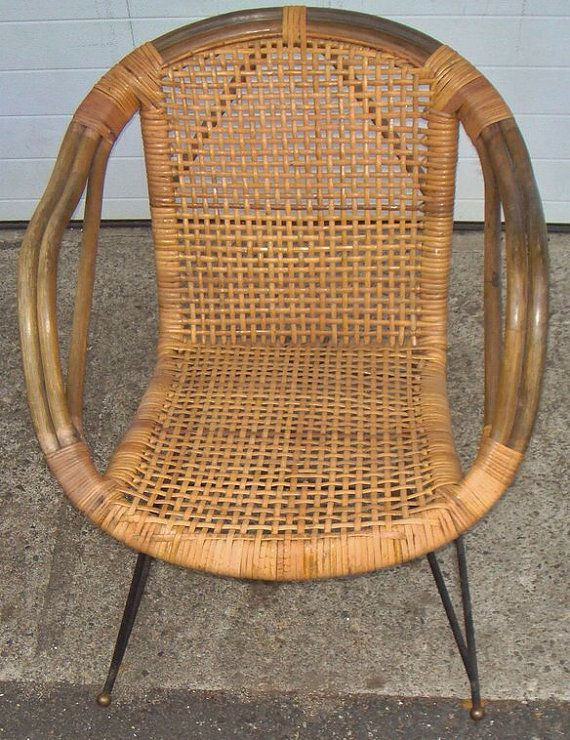 Vintage Rattan & Metal Rocker by HomeandApartment on Etsy, $240.00