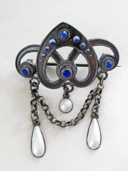 Antique Sterling Enamel Norway Solje Brooch by Clement Berg from quick-red-fox on Ruby Lane