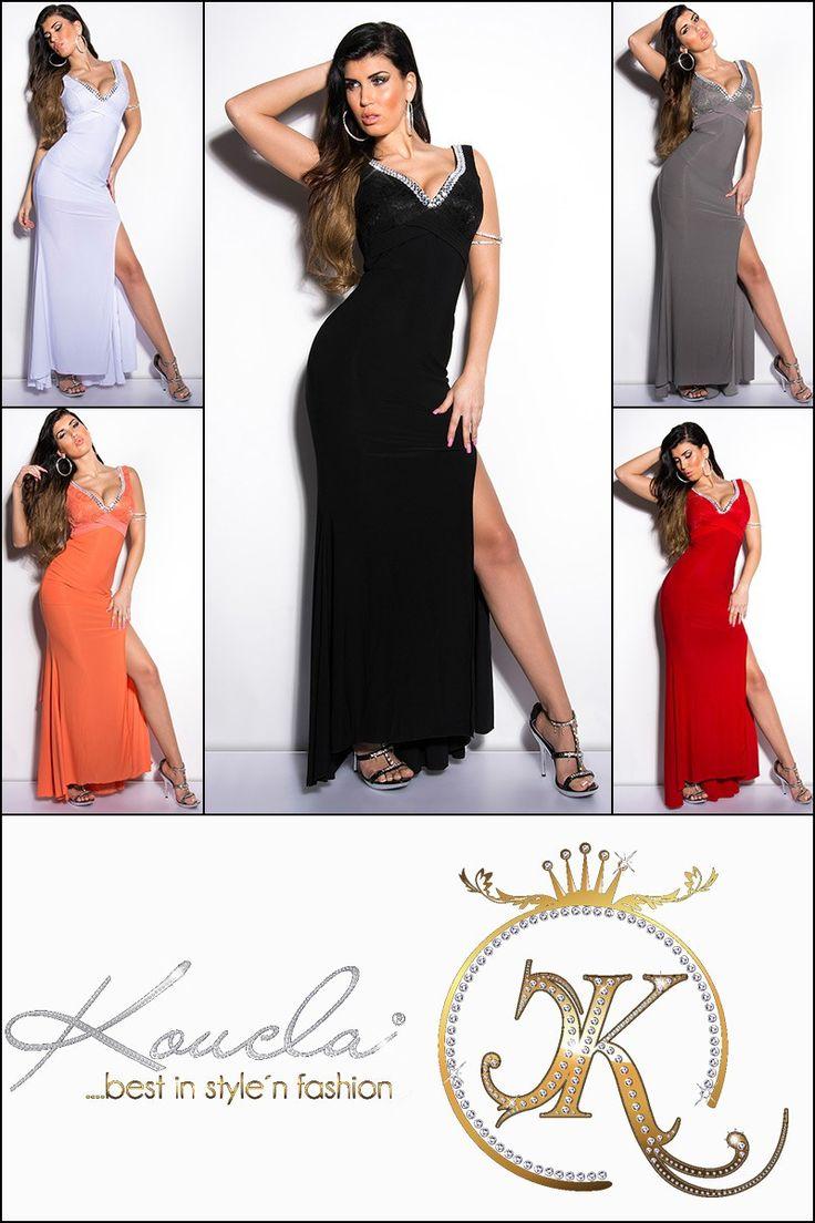 Longue robe de soirée encolure V strass et noeud - bestyle29.com