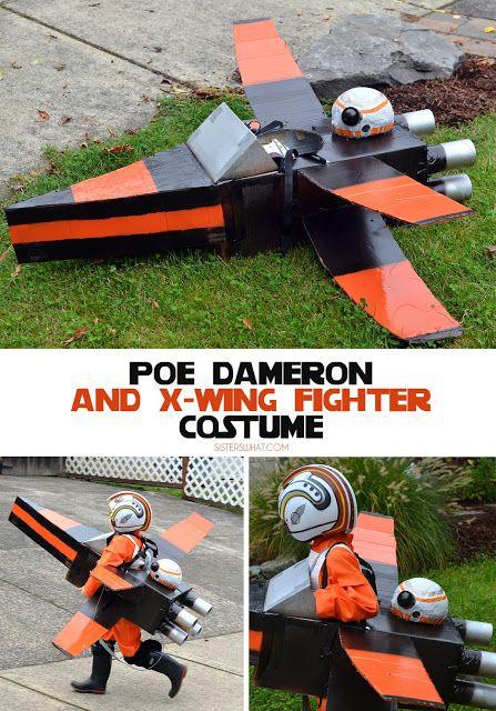 Star Wars Poe Dameron X-Wing made from a cardboard box! Fun fancy dress costume!