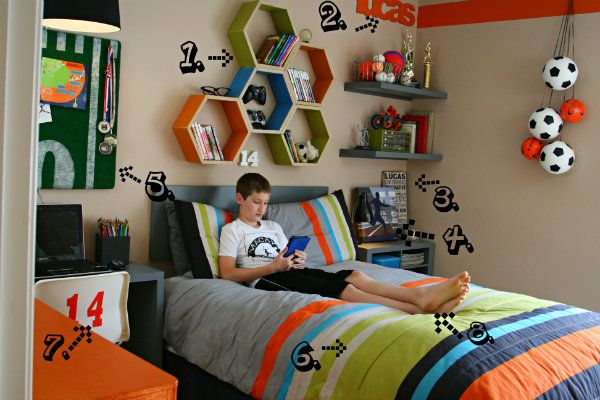 LOVE this boys' room!!!  Theme for Andrew's when we move... Neutral walls, orange, blue, green and gray accents with sport accessories