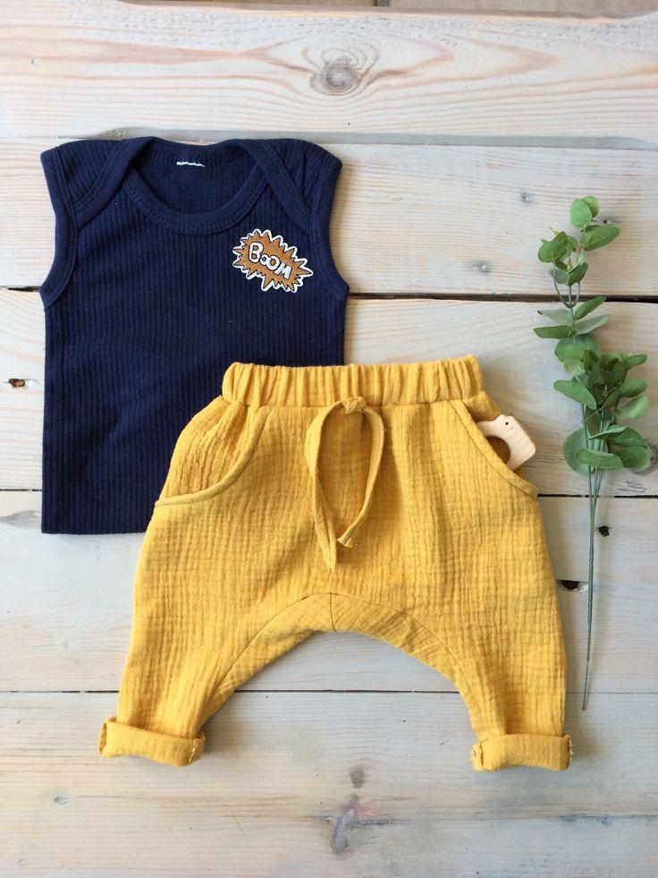 Idée pour coudre la double gaze en coton bio vendue au mètre sur 36bobines.com (boutique en ligne) : un sarouel bébé