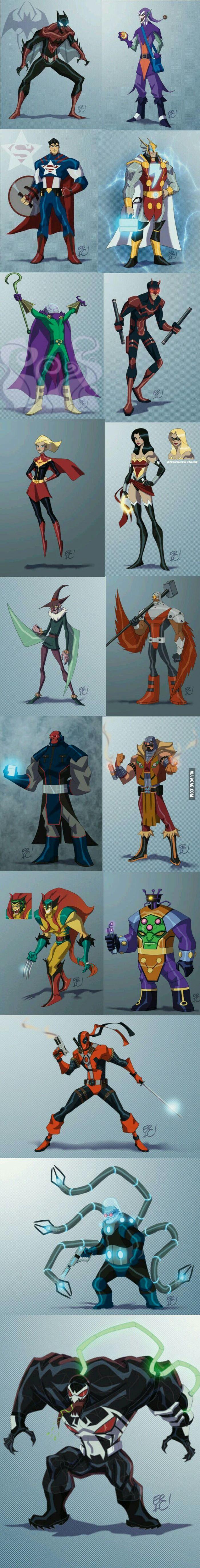 Marvel - DC mashup | Spider-man+Batman; Green Goblin+Joker; Captain America+Superman; Shazam+Thor; Mysterio+Riddler; Daredevil+Nightwing; Miss Marvel+Wonder Woman; Vulture+Scarecrow; Falcon+Steel; The Red Skull+Darkseid; Kraven the Hunter+Deadshot; Wolverine+Creeper; Arnim Zola+Brainiac; Deadpool; Deathstroke; Dr. Octopus+Mr. Freeze; Venom+Bane;