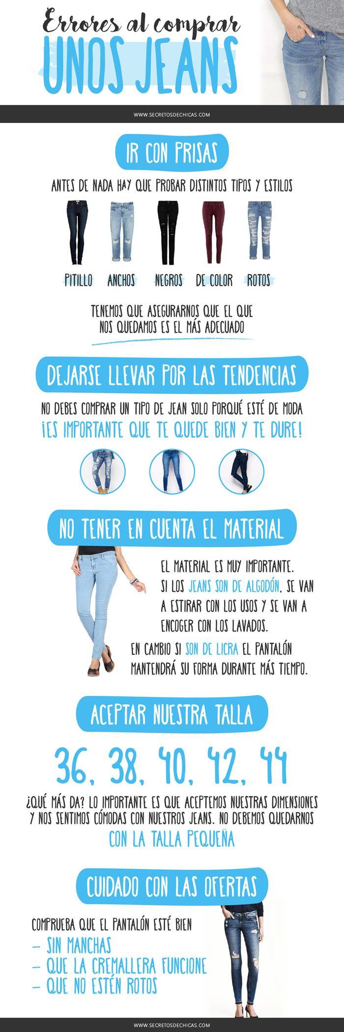 Hoy os traigo algunos errores que cometemos al comprar unos jeans y que no deberíamos cometer. ¡Vamos a verlos! – Ir con prisas. Comprar unos tejanos o jeans requiere tiempo, porque debemos encontrar el que mejor se adapta. Tenemos que probar distintos tipos y estilos para asegurarnos que el que nos quedamos es el más adecuado. – Dejarse …