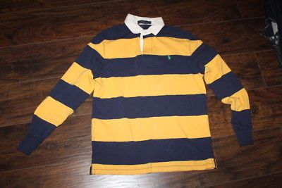 61dc7be87e8 Mens Polo RALPH LAUREN Navy Blue Yellow Striped Long Sleeve Rugby Shirt SZ M