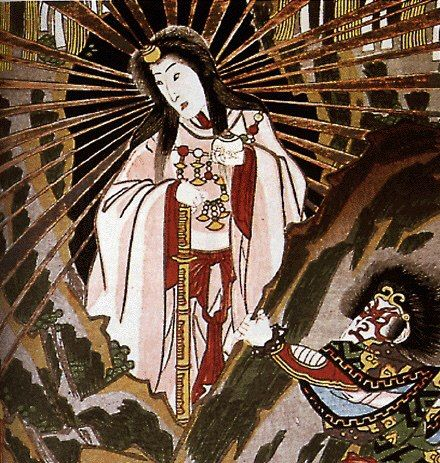 Богиня Аматэрасу, снизошедшая на землю, Утагава Кунисада, гравюра на дереве, 1860 г