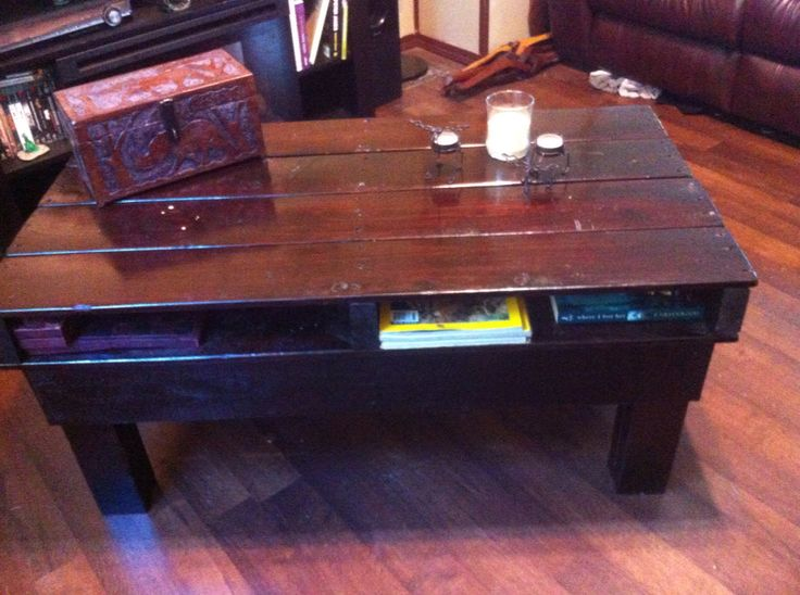 Coffee table made from old pallets. Has four storage shelves!