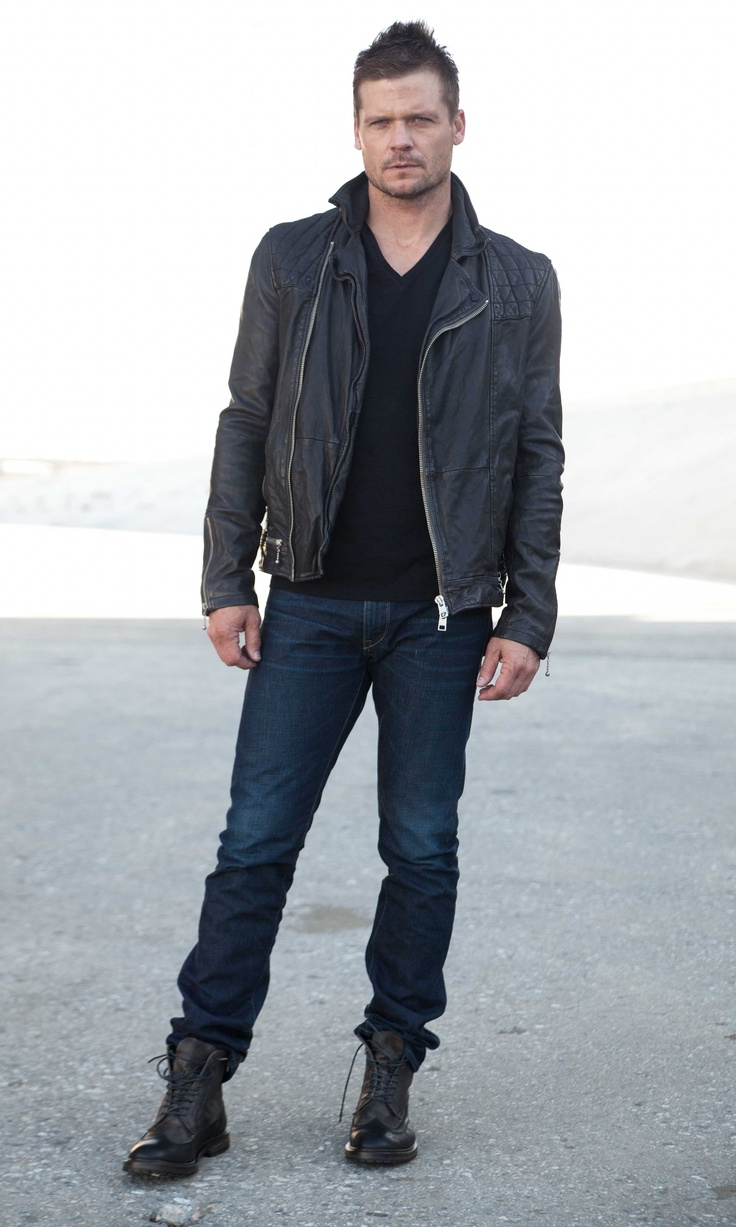 Spotted. Actor Bailey Chase wearing a Spring 2013 look, featuring the 'Conroy Leather Biker'.