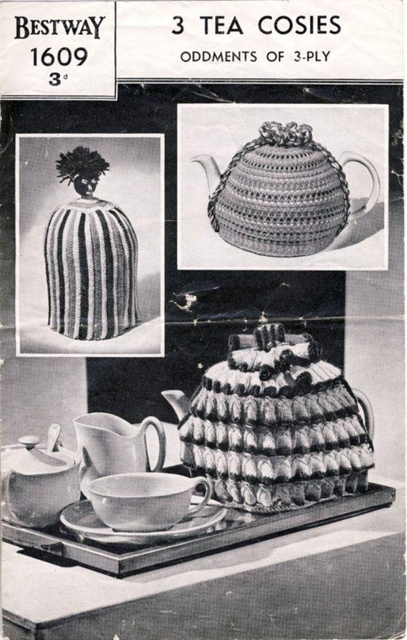 1940s Bestway 1609 Tea Cosies Knitting Pattern by PatternaliaVintage