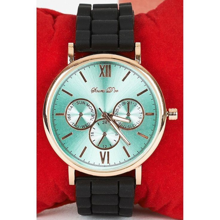 3 Decorative Sub-dials Watch With Black Silicone Strap
