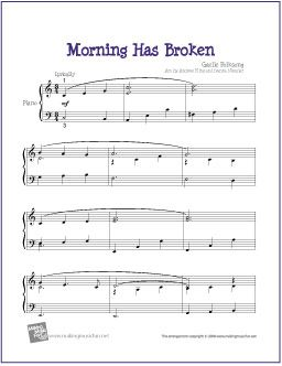 Morning Has Broken | Free Sheet Music for Easy Piano - http://makingmusicfun.net/htm/f_printit_free_printable_sheet_music/morning_has_broken_piano.htm
