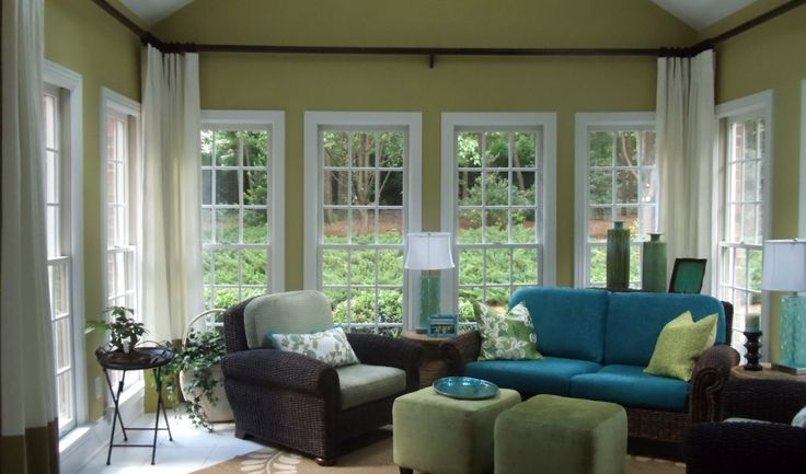 Sunroom makeover: On my list - love the higher curtain. Interior Design Ideas, Window Treatments, Remodeling, Fabrics, Greensboro, High Point NC: How to add color, see this sunroom makeover!