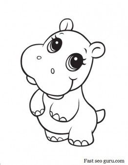 printable baby hippo coloring pages printable coloring pages for kids - Kids Colouring