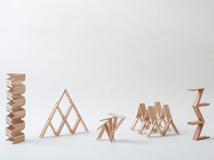 Architecture firm Kengo Kuma and Associates made them, and they look like bent popsicle sticks.
