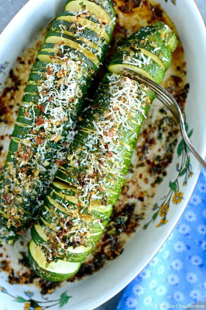 Hasselback Zucchini with Parmigiano Gremolata  ciaochowbambina.com