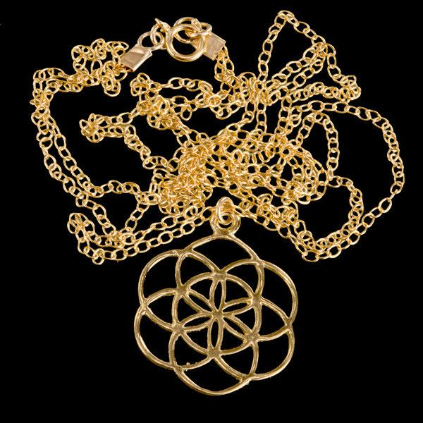 24K Gold Plated Double Chain Seed Of Life Necklace http://tribu.co.uk/collections/necklaces/products/dblnkgpsol