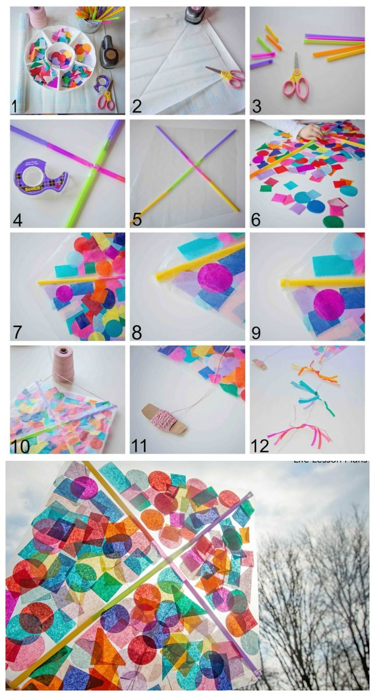 make a kite from contact paper and confetti - fun activity for kids