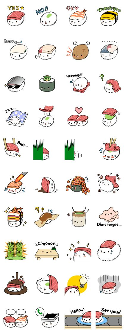 Cute & yummy SUSHI stickers!