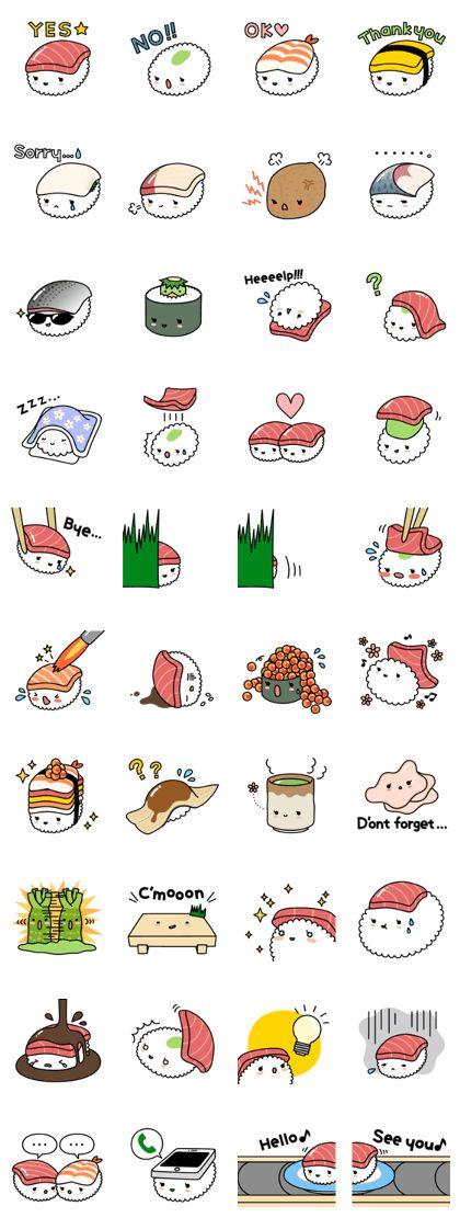 Cute & yummy SUSHI stickers!