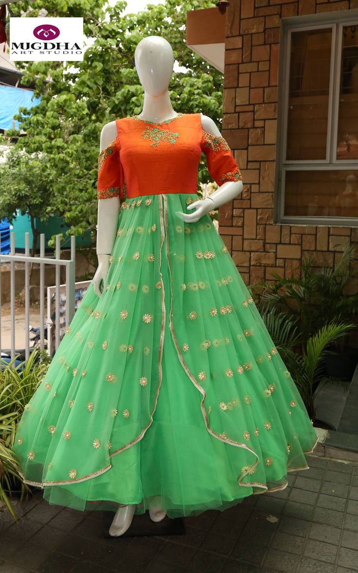 Classy Long Gown with Hand Made Embroidery From the house of Mugdha Art Stuido. They can customize the color and size as per your requirement. Product code : MA-134 To Order : whatsapp +91 8142029190/ 9010906544 For Call: 8899840840 (IVR)