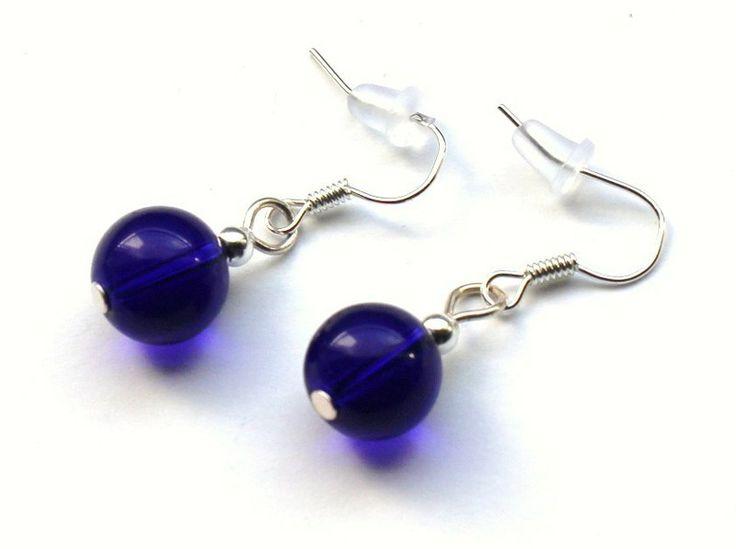 Ciemnoniebieskie kolczyki ze szklanych kulek 10 mm w Especially for You! na http://pl.dawanda.com/shop/slicznieilirycznie  #kolczyki #earrings  #handmade #DaWanda