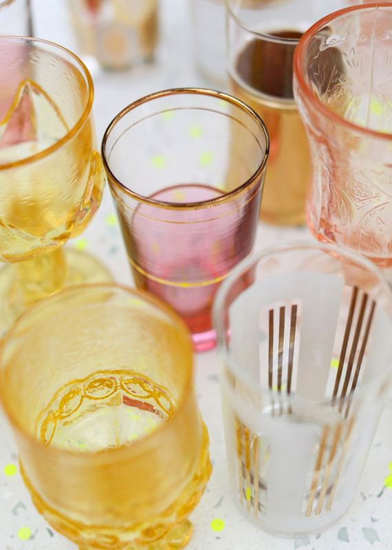 vintage cocktail glasses | Photos by Birds of a Feather | 100 Layer Cake