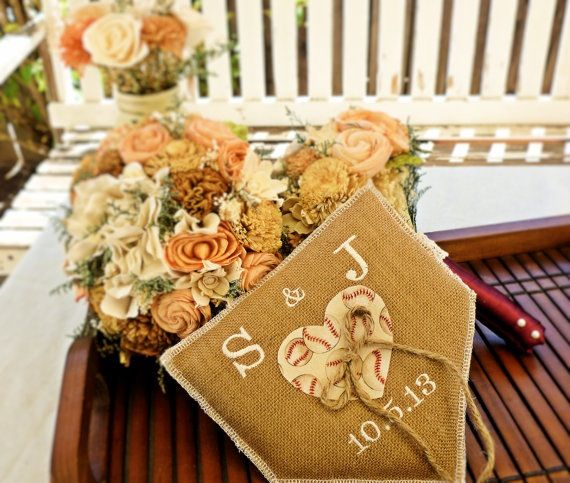 Vintage baseball burlap weeding ring pillow. Customized by embroidering the bride and grooms initials and their wedding date.