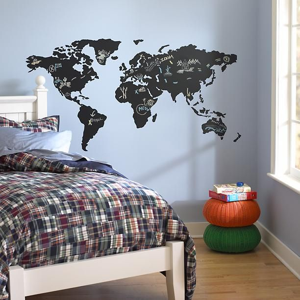 chalkboard wall decal map
