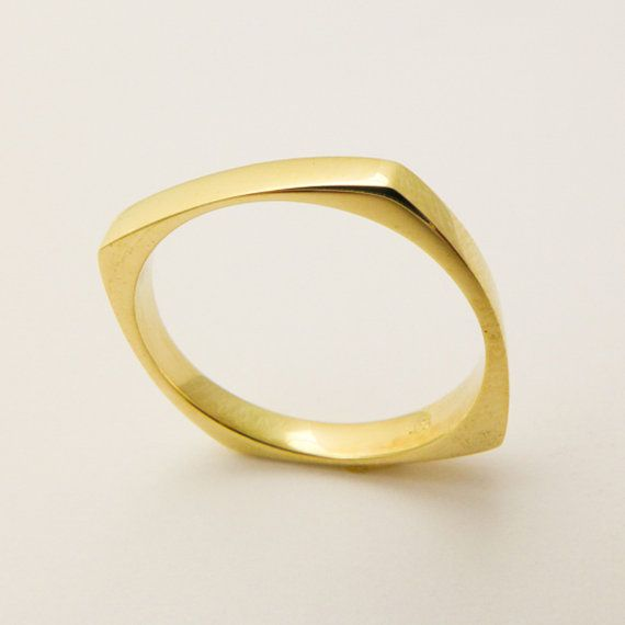 14 karat solid gold square ring, Geometric wedding ring for men and  women, Hand made thin gold ring, Simple solid gold  wedding band