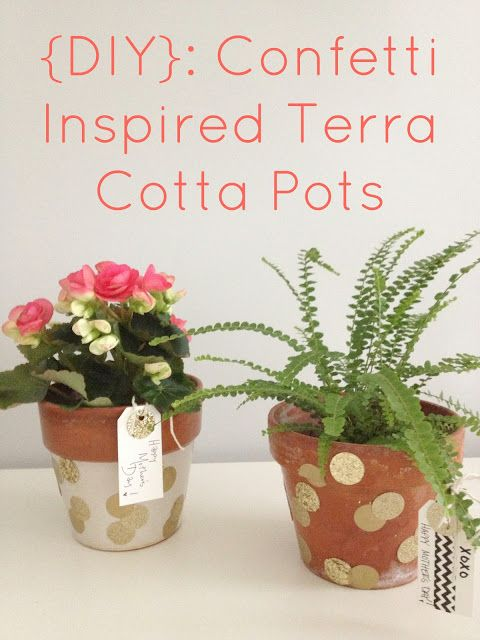 DIY Confetti Terra Cotta Inspired Pots - LOVE these for Mother's Day