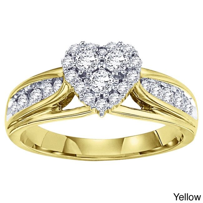 Cambridge 14k White or Gold 5/8ct TDW Heart Diamond Ring