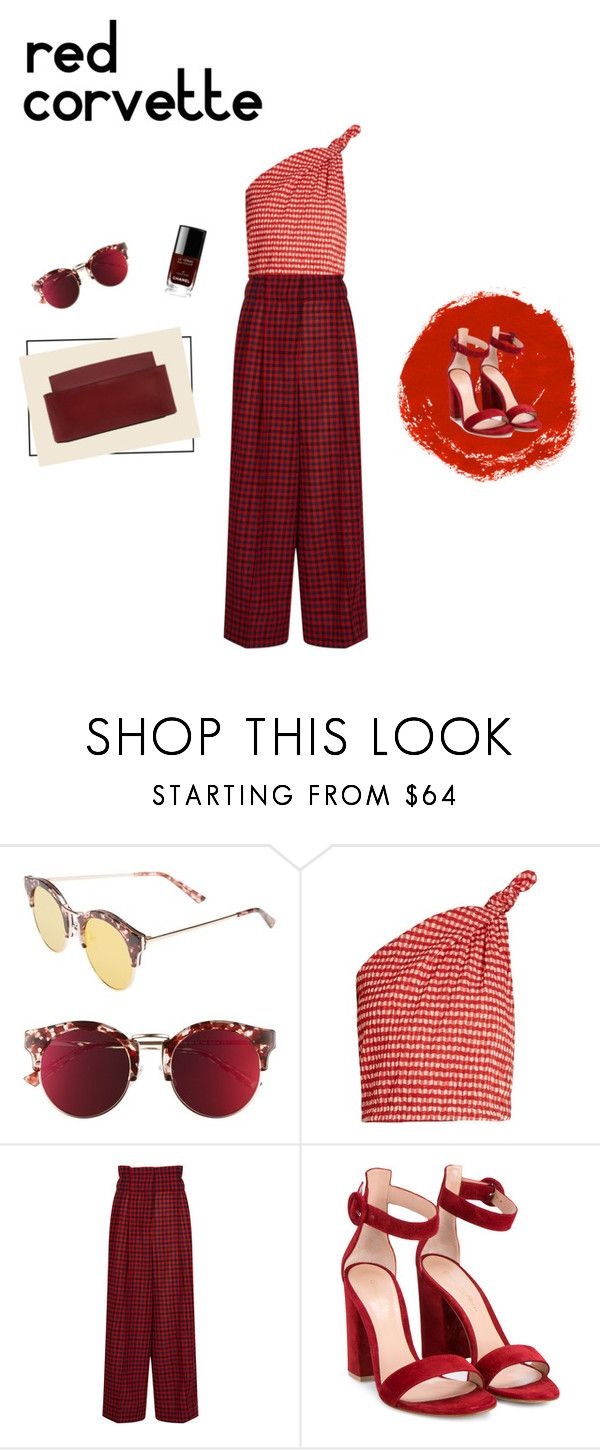 """LADY IN RED"" by mccllm ❤ liked on Polyvore featuring Bonnie Clyde, Rosie Assoulin, Sonia Rykiel, Gianvito Rossi, Chanel, red, summerstyle and mccllm"