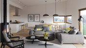 Den koselige stuen i Hitra fra Systemhus. Åpen løsning med nærhet til kjøkkenet og  utgang rett ut til en terrasse.